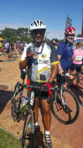 Roy Hendricks at the 2016 Cape Town Cycle Tour. A true Ambassador for Go for Gold. Well done Roy! See you in 2017!